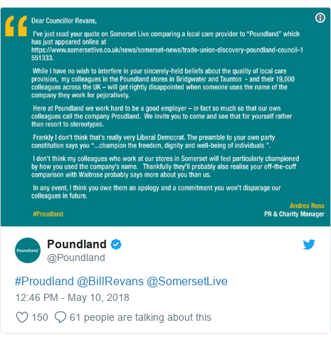 Twitter post by @Poundland: #Proudland @BillRevans @SomersetLive