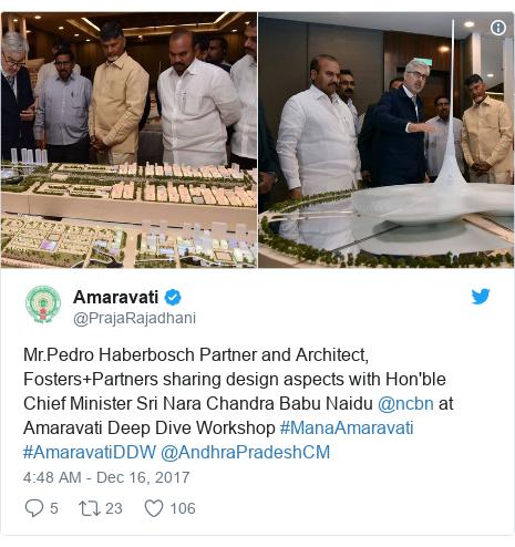 Twitter post by @PrajaRajadhani: Mr.Pedro Haberbosch Partner and Architect, Fosters+Partners sharing design aspects with Hon'ble Chief Minister Sri Nara Chandra Babu Naidu @ncbn at Amaravati Deep Dive Workshop #ManaAmaravati  #AmaravatiDDW  @AndhraPradeshCM