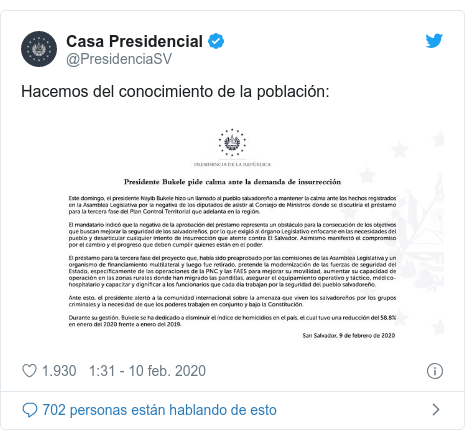 Publicación de Twitter por @PresidenciaSV: Hacemos del conocimiento de la población