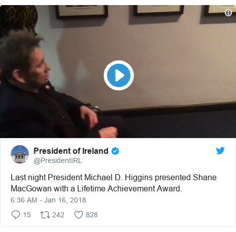Twitter post by @PresidentIRL: Last night President Michael D. Higgins presented Shane MacGowan with a Lifetime Achievement Award.