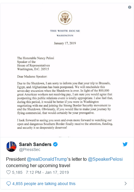 Twitter post by @PressSec: President @realDonaldTrump's letter to @SpeakerPelosi concerning her upcoming travel
