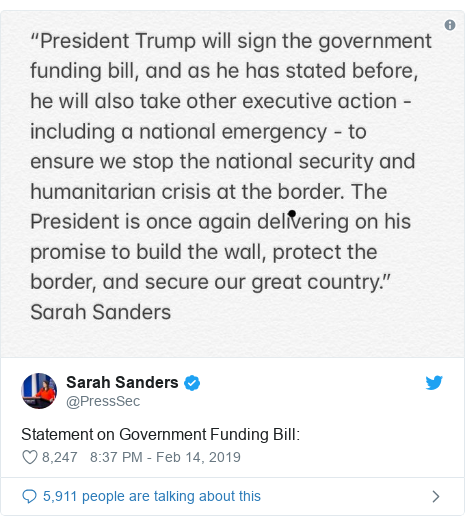 Twitter post by @PressSec: Statement on Government Funding Bill