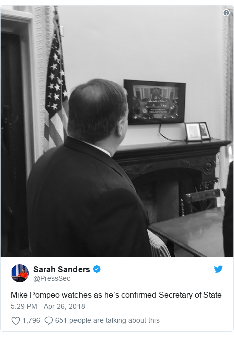 Twitter post by @PressSec: Mike Pompeo watches as he's confirmed Secretary of State