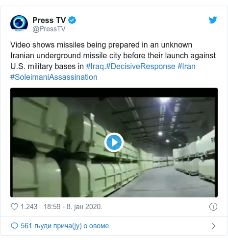 Twitter post by @PressTV: Video shows missiles being prepared in an unknown Iranian underground missile city before their launch against U.S. military bases in #Iraq.#DecisiveResponse #Iran #SoleimaniAssassination