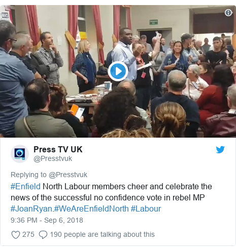Twitter post by @Presstvuk: #Enfield North Labour members cheer and celebrate the news of the successful no confidence vote in rebel MP #JoanRyan.#WeAreEnfieldNorth #Labour
