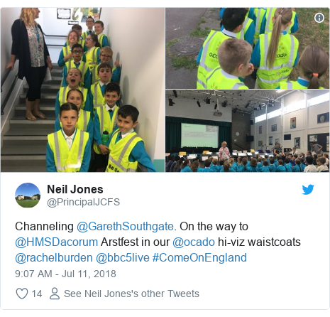 Twitter post by @PrincipalJCFS: Channeling @GarethSouthgate. On the way to @HMSDacorum Arstfest in our @ocado hi-viz waistcoats  @rachelburden @bbc5live #ComeOnEngland