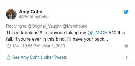 Twitter post by @ProfAmyCohn: This is fabulous!!! To anyone taking my @UMIOE 510 this fall, if you're ever in this bind, I'll have your back...
