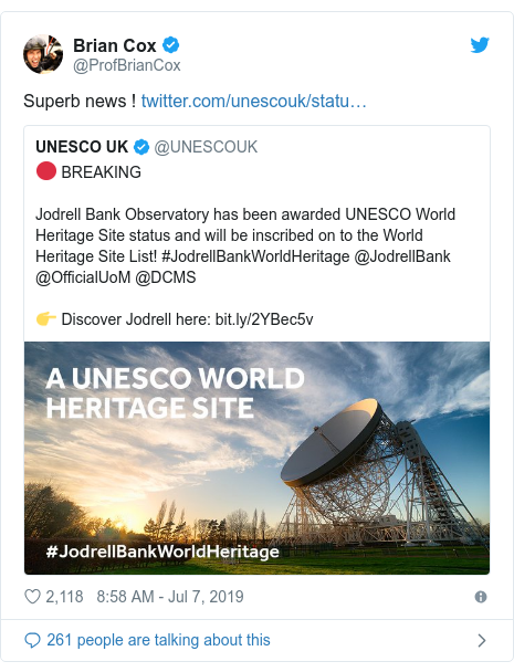 Twitter post by @ProfBrianCox: Superb news !