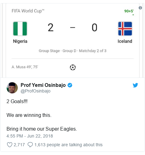 Twitter post by @ProfOsinbajo: 2 Goals!!!We are winning this.Bring it home our Super Eagles.