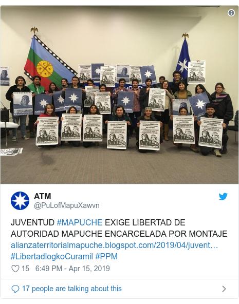 Twitter post by @PuLofMapuXawvn: JUVENTUD #MAPUCHE EXIGE LIBERTAD DE AUTORIDAD MAPUCHE ENCARCELADA POR MONTAJE #LibertadlogkoCuramil #PPM