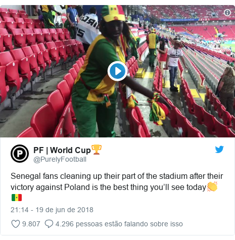 Twitter post de @PurelyFootball: Senegal fans cleaning up their part of the stadium after their victory against Poland is the best thing you'll see today👏🇸🇳