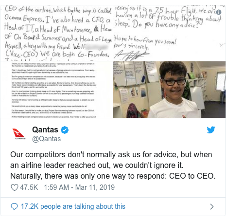 Twitter post by @Qantas: Our competitors don't normally ask us for advice, but when an airline leader reached out, we couldn't ignore it.Naturally, there was only one way to respond  CEO to CEO.