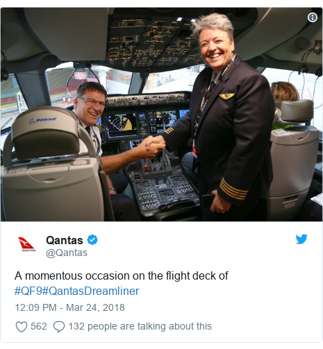 Twitter post by @Qantas: A momentous occasion on the flight deck of #QF9#QantasDreamliner