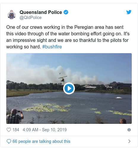 Twitter post by @QldPolice: One of our crews working in the Peregian area has sent this video through of the water bombing effort going on. It's an impressive sight and we are so thankful to the pilots for working so hard. #bushfire