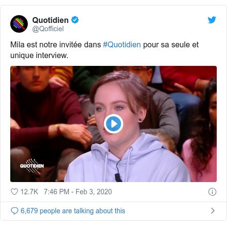 Twitter post by @Qofficiel: Mila est notre invitée dans #Quotidien pour sa seule et unique interview.