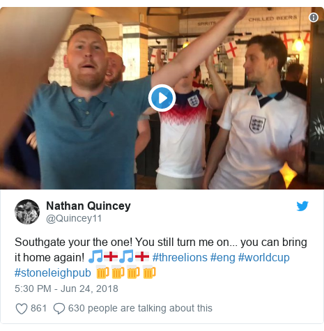 Twitter post by @Quincey11: Southgate your the one! You still turn me on... you can bring it home again! 🎵🏴󠁧󠁢󠁥󠁮󠁧󠁿🎵🏴󠁧󠁢󠁥󠁮󠁧󠁿 #threelions #eng #worldcup #stoneleighpub 🍺🍺🍺🍺