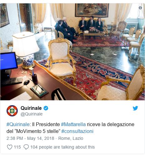"""Twitter post by @Quirinale: #Quirinale  Il Presidente #Mattarella riceve la delegazione del """"MoVimento 5 stelle"""" #consultazioni"""