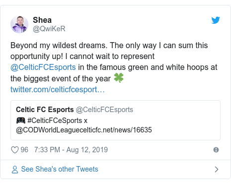 Twitter post by @QwiKeR: Beyond my wildest dreams. The only way I can sum this opportunity up! I cannot wait to represent @CelticFCEsports in the famous green and white hoops at the biggest event of the year 🍀