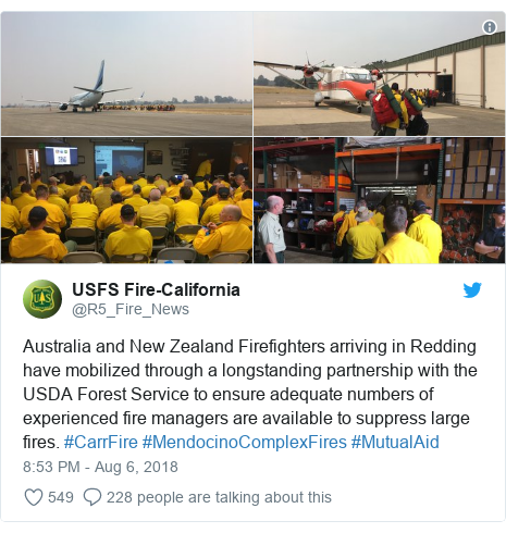 Twitter post by @R5_Fire_News: Australia and New Zealand Firefighters arriving in Redding have mobilized through a longstanding partnership with the USDA Forest Service to ensure adequate numbers of experienced fire managers are available to suppress large fires. #CarrFire #MendocinoComplexFires #MutualAid