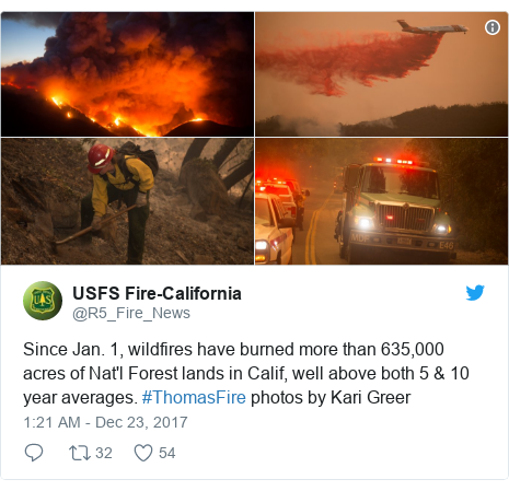 Twitter post by @R5_Fire_News: Since Jan. 1, wildfires have burned more than 635,000 acres of Nat'l Forest lands in Calif, well above both 5 & 10 year averages. #ThomasFire photos by Kari Greer