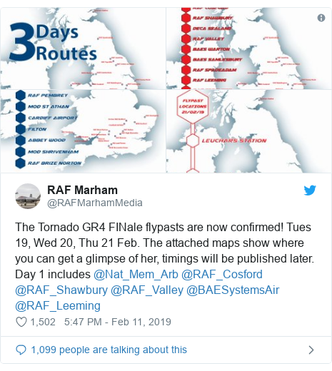 Twitter post by @RAFMarhamMedia: The Tornado GR4 FINale flypasts are now confirmed! Tues 19, Wed 20, Thu 21 Feb. The attached maps show where you can get a glimpse of her, timings will be published later. Day 1 includes @Nat_Mem_Arb @RAF_Cosford @RAF_Shawbury @RAF_Valley @BAESystemsAir @RAF_Leeming
