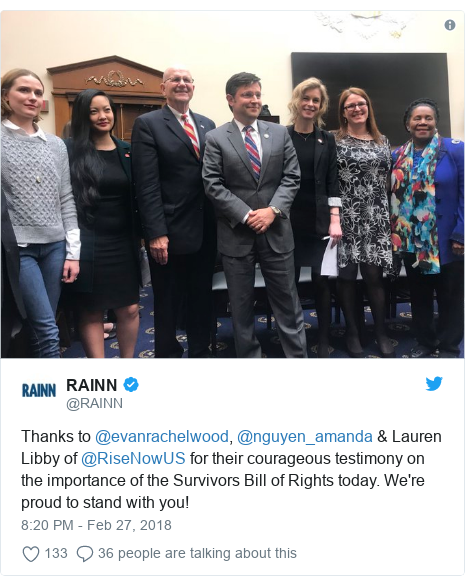 Twitter post by @RAINN: Thanks to @evanrachelwood, @nguyen_amanda & Lauren Libby of @RiseNowUS for their courageous testimony on the importance of the Survivors Bill of Rights today. We're proud to stand with you!