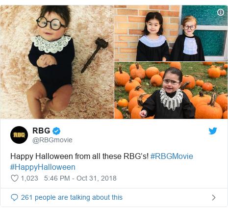 Twitter post by @RBGmovie: Happy Halloween from all these RBG's! #RBGMovie #HappyHalloween