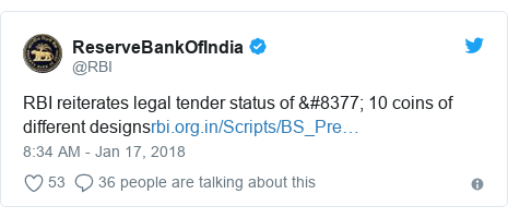 Twitter post by @RBI: RBI reiterates legal tender status of ₹ 10 coins of different designs