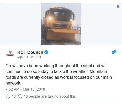 Twitter post by @RCTCouncil: Crews have been working throughout the night and will continue to do so today to tackle the weather. Mountain roads are currently closed as work is focused on our main network.