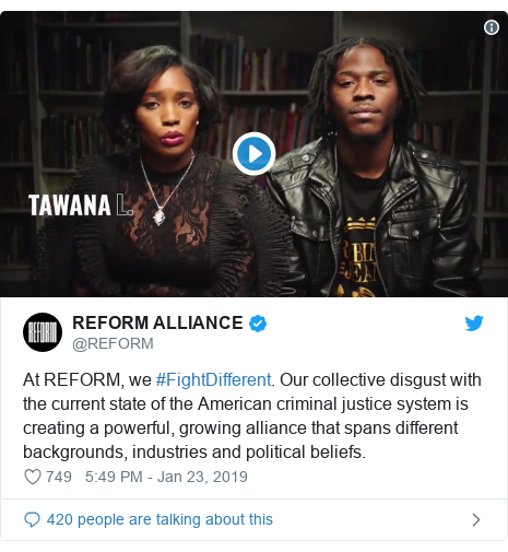 Twitter post by @REFORM: At REFORM, we #FightDifferent. Our collective disgust with the current state of the American criminal justice system is creating a powerful, growing alliance that spans different backgrounds, industries and political beliefs.