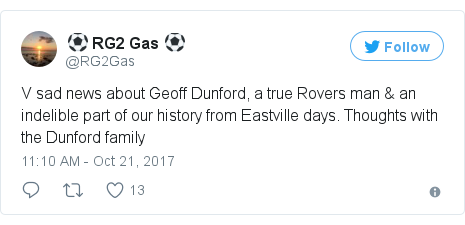 Twitter post by @RG2Gas: V sad news about Geoff Dunford, a true Rovers man & an indelible part of our history from Eastville days.  Thoughts with the Dunford family