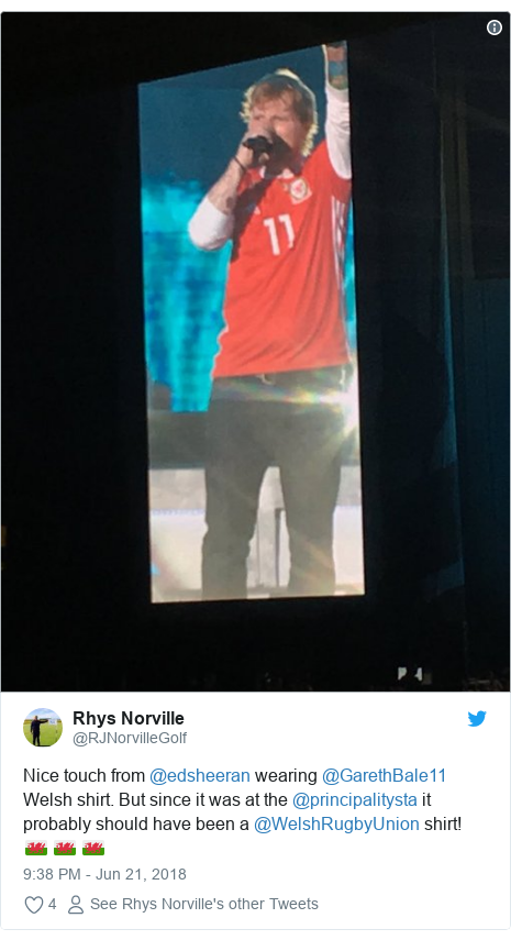 Twitter post by @RJNorvilleGolf: Nice touch from @edsheeran wearing @GarethBale11 Welsh shirt. But since it was at the @principalitysta it probably should have been a @WelshRugbyUnion shirt! 🏴󠁧󠁢󠁷󠁬󠁳󠁿 🏴󠁧󠁢󠁷󠁬󠁳󠁿 🏴󠁧󠁢󠁷󠁬󠁳󠁿
