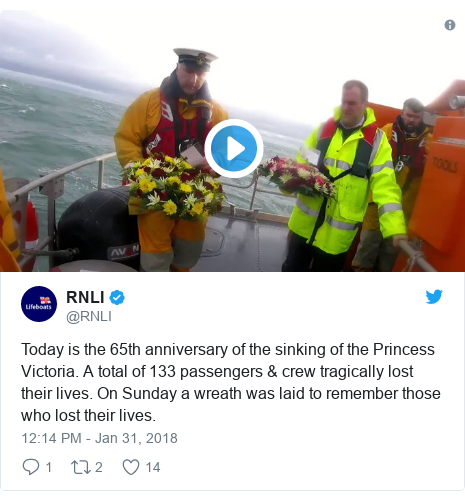Twitter post by @RNLI: Today is the 65th anniversary of the sinking of the Princess Victoria. A total of 133 passengers & crew tragically lost their lives. On Sunday a wreath was laid to remember those who lost their lives.