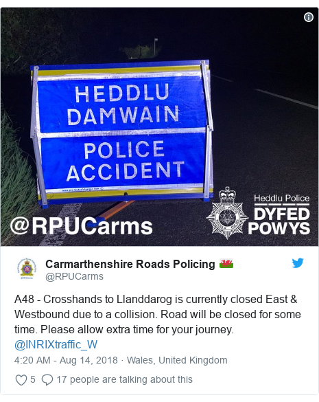 Crash closes A48 in Carmarthenshire near Cross Hands