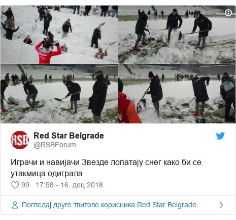 Twitter post by @RSBForum: Играчи и навијачи Звезде лопатају снег како би се утакмица одиграла