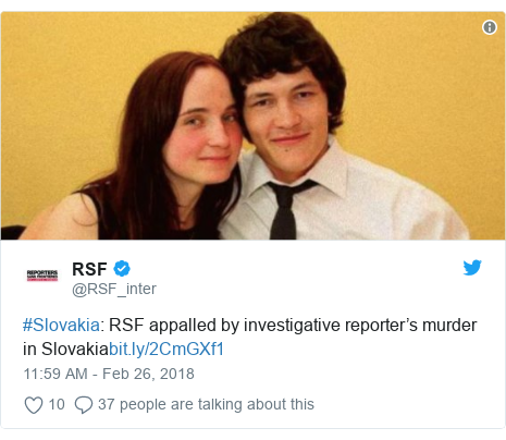 Twitter post by @RSF_inter: #Slovakia  RSF appalled by investigative reporter's murder in Slovakia