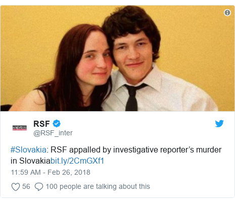 Twitter waxaa daabacay @RSF_inter: #Slovakia  RSF appalled by investigative reporter's murder in Slovakia
