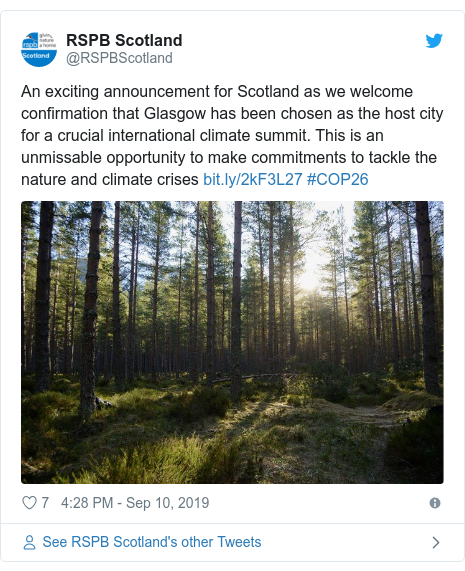 Twitter post by @RSPBScotland: An exciting announcement for Scotland as we welcome confirmation that Glasgow has been chosen as the host city for a crucial international climate summit. This is an unmissable opportunity to make commitments to tackle the nature and climate crises  #COP26