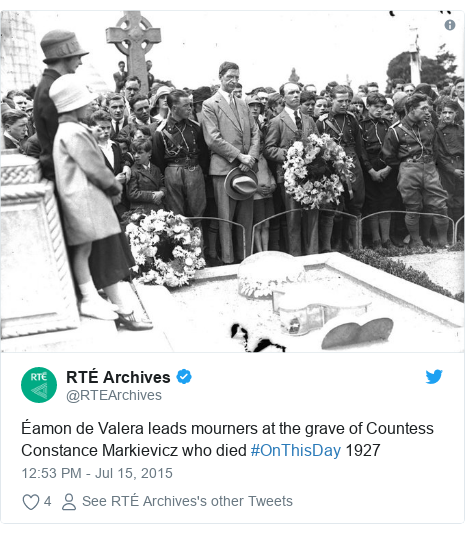 Twitter post by @RTEArchives: Éamon de Valera leads mourners at the grave of Countess Constance Markievicz who died #OnThisDay 1927