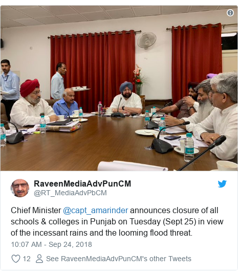 Twitter post by @RT_MediaAdvPbCM: Chief Minister @capt_amarinder announces closure of all schools & colleges in Punjab on Tuesday (Sept 25) in view of the incessant rains and the looming flood threat.