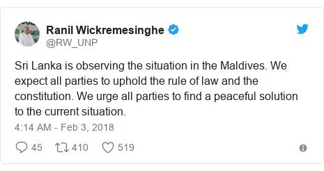 Twitter හි @RW_UNP කළ පළකිරීම: Sri Lanka is observing the situation in the Maldives. We expect all parties to uphold the rule of law and the constitution. We urge all parties to find a peaceful solution to the current situation.