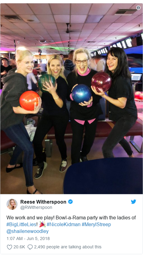 Twitter post by @RWitherspoon: We work and we play! Bowl-a-Rama party with the ladies of #BigLittleLies! 🎉 #NicoleKidman #MerylStreep @shailenewoodley