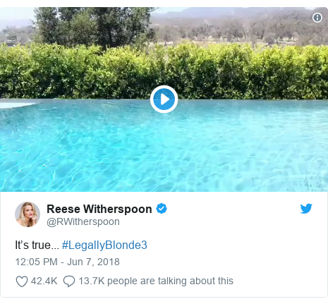 Twitter post by @RWitherspoon: It's true... #LegallyBlonde3
