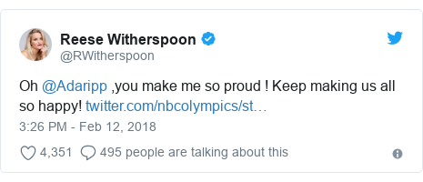 Twitter post by @RWitherspoon: Oh @Adaripp ,you make me so proud ! Keep making us all so happy!