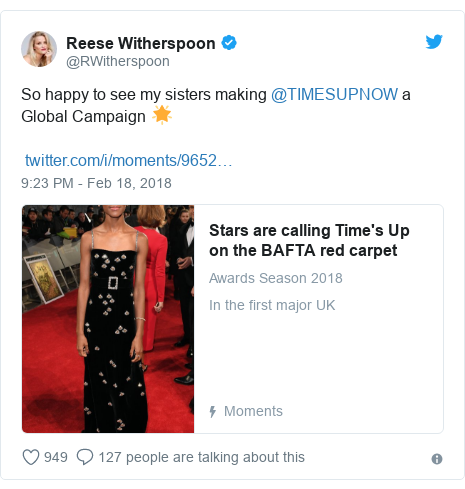 Twitter post by @RWitherspoon: So happy to see my sisters making @TIMESUPNOW a Global Campaign 🌟