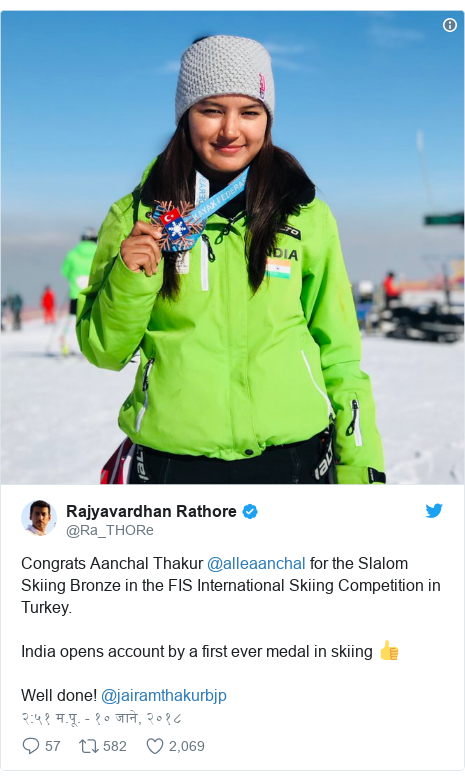Twitter post by @Ra_THORe: Congrats Aanchal Thakur @alleaanchal for the Slalom Skiing Bronze in the FIS International Skiing Competition in Turkey. India opens account by a first ever medal in skiing 👍Well done! @jairamthakurbjp