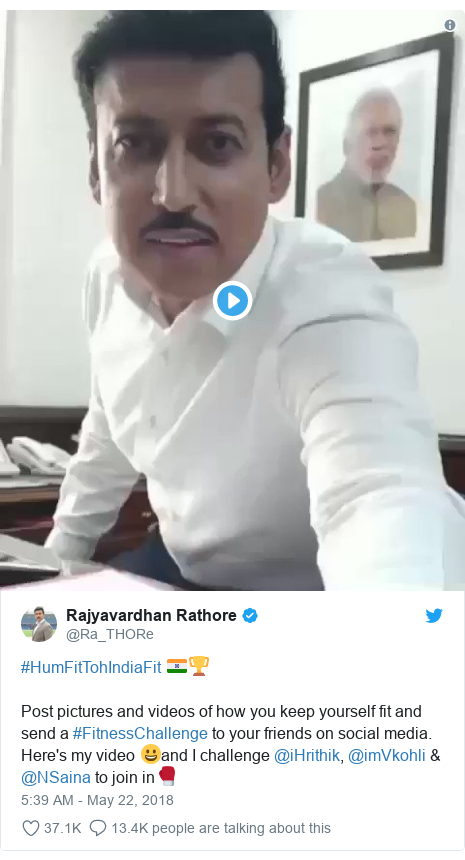 Twitter post by @Ra_THORe: #HumFitTohIndiaFit 🇮🇳🏆Post pictures and videos of how you keep yourself fit and send a #FitnessChallenge to your friends on social media. Here's my video 😀and I challenge @iHrithik, @imVkohli & @NSaina to join in🥊