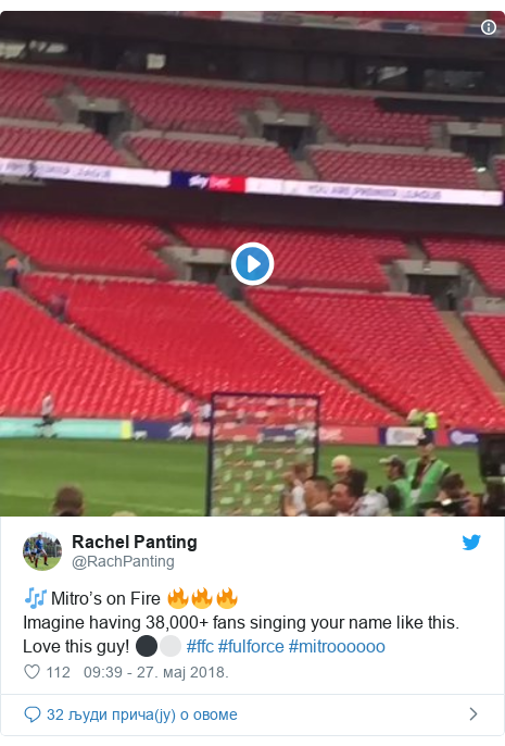 Twitter post by @RachPanting: 🎶 Mitro's on Fire 🔥🔥🔥Imagine having 38,000+ fans singing your name like this. Love this guy! ⚫️⚪️ #ffc #fulforce #mitroooooo