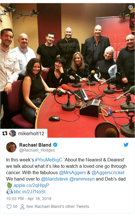 Twitter post by @Rachael_Hodges: In this week's #YouMeBigC 'About the Nearest & Dearest' we talk about what it's like to watch a loved one go through cancer. With the fabulous @MrsAggers & @Aggerscricket We hand over to @blandsteve @rammrayn and Deb's dad 🍏 🎧