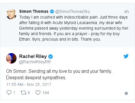 Twitter post by @RachelRileyRR: Oh Simon. Sending all my love to you and your family. Deepest deepest sympathies.